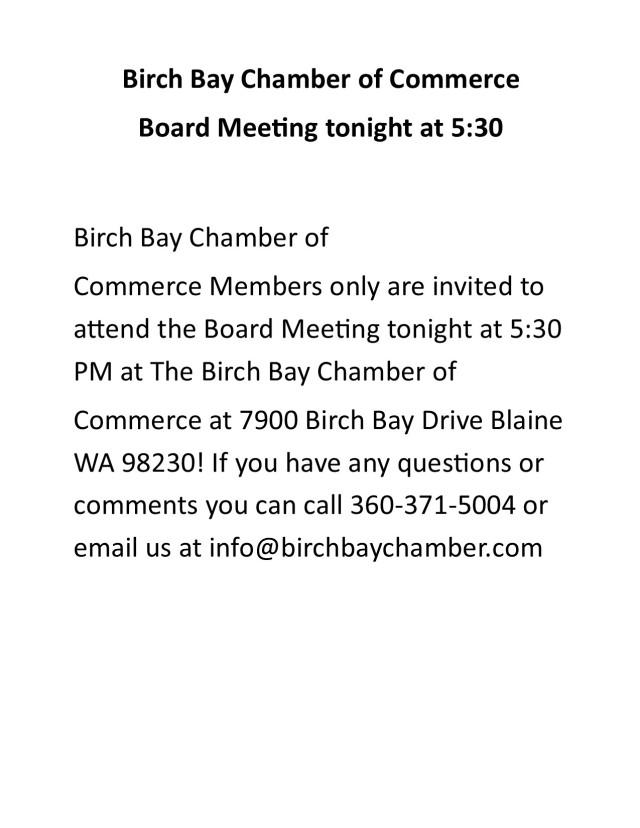Board Meeting tonight.